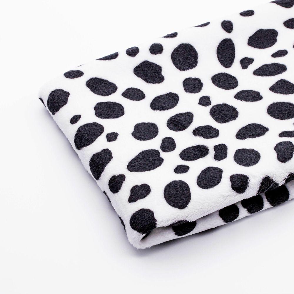 Ткань плюш далматинец, цвет черно-белый